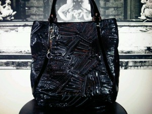 Versace black bag with embroidery detail