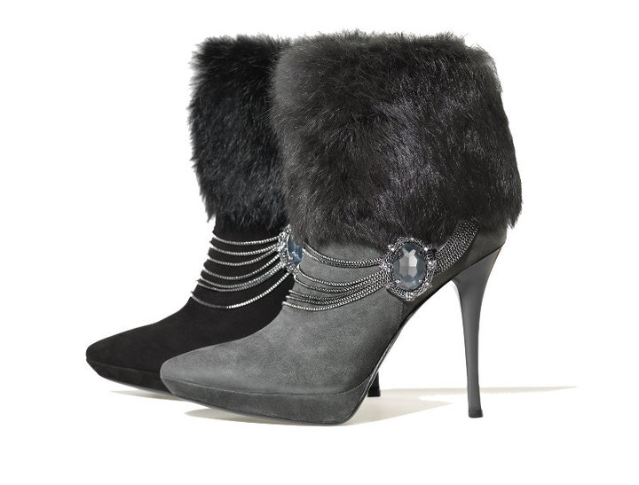 Luciano Barachini suede boots with fur detail