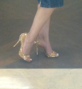 Loving my glittering Casadei stilettos!
