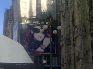 Michael Kors billboard at Duomo