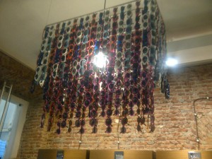 Eye-catching chandelier feature in-store