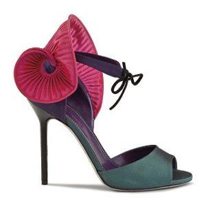 Pink and green satin Dalia sandal
