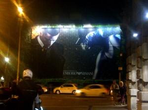 Emporio Armani billboard at Via Cusani