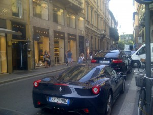 Exotic cars line Via Montenapoleone