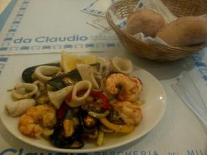 Mixed seafood salad at Da Claudio Pescheria