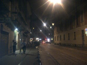 The streets of Milan at midnight
