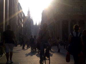 The sun sets in Milano