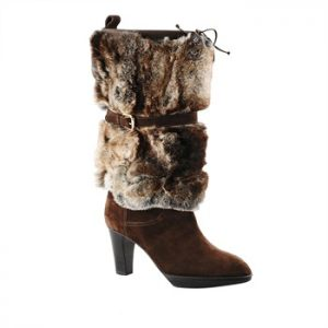 Mahogany suede boot with lapin turndown