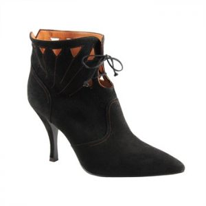 black suede ankle boot with cut out detail