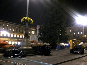Putting up the Christmas tree in Piazza Duomo