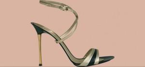 Gold and Black Carbon sandal