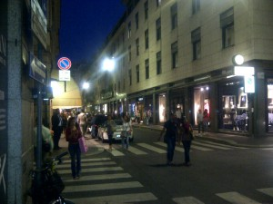 Via Montenapoleone at night