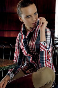 Cheque shirt with ruffled collar and edging
