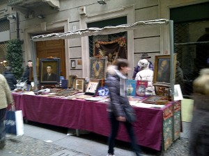 Antiques dealers line the street