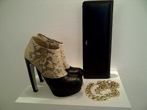 Platform ankle Boots with Python and 14cm heels