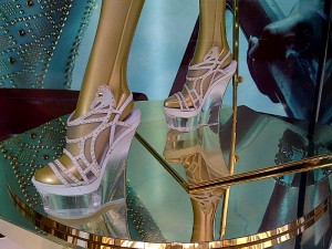 Versace's studded wedged sandals