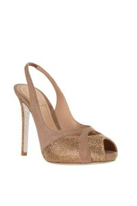 Champagne suede and crystal peep toe sandal