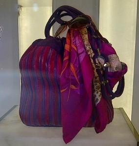 Magenta and purple striped shoulder bag