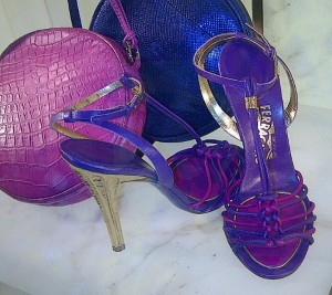 Purple and magenta strappy sandal