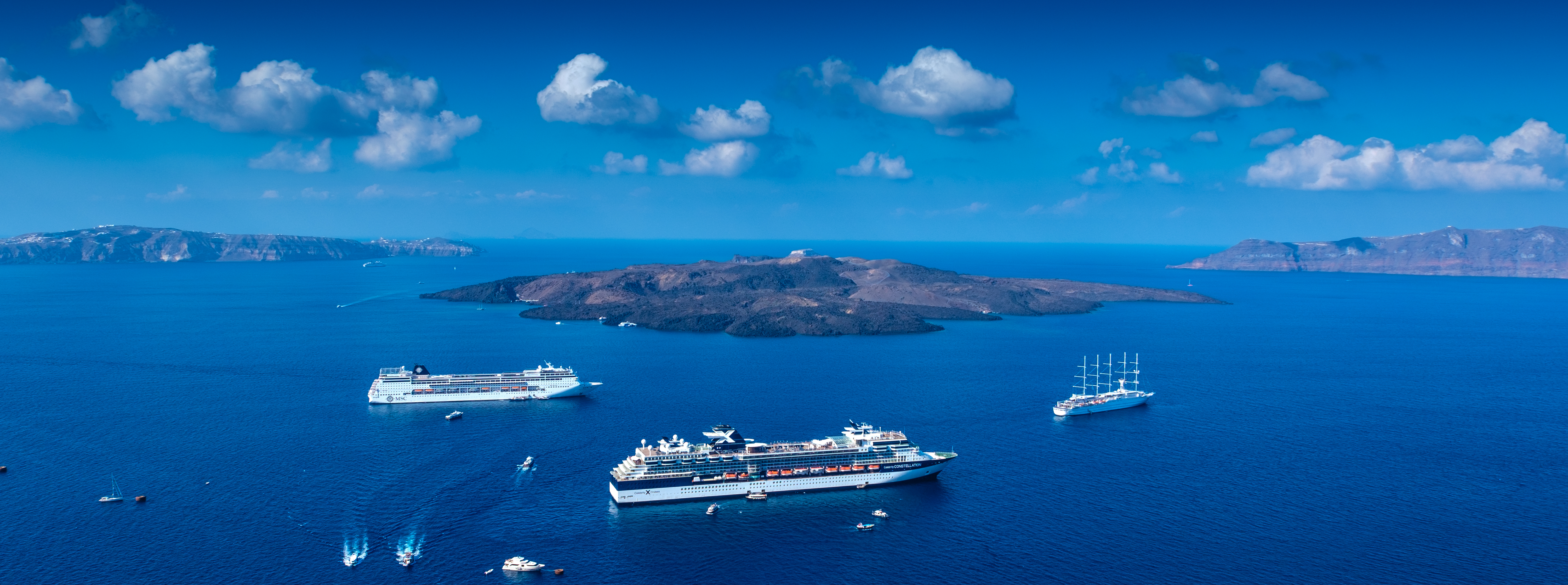 View of MSC cruise ship from Santorini, Greece